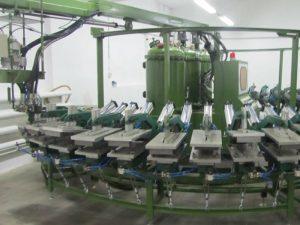 PU-Sicherheitsschuhherstellungsmaschine DIP-Schuhbananenart Fertigungsstraße